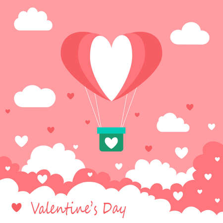 Happy Valentine's Day greeting card design. Holiday banner with hot air heart balloon.