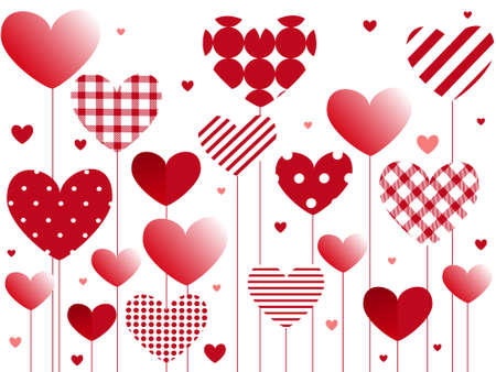 Valentine's day greeting card. Hearts plaid, patches red balloon