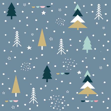 Winter forest. Christmas seamless pattern Ilustração