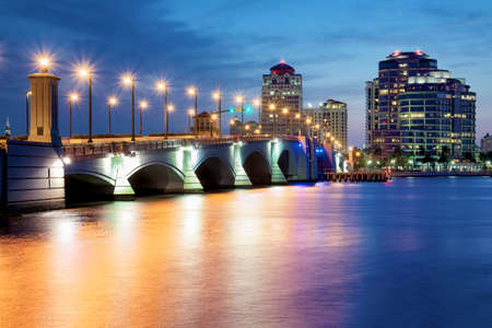 West Palm Beach at Night, Florida, United States Stock Photo