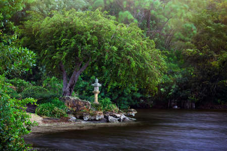 Spectacular view of the Japanese garden in Morikami Park, Delray Beach, Florida