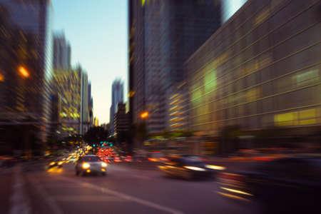 high society: City night lights at Miami Brickell financial district