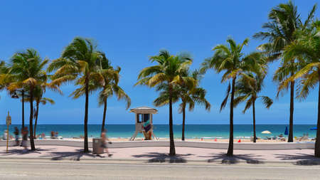 Fort Lauderdale beach near Las Olas Boulevard with the distinctive wall in the foreground