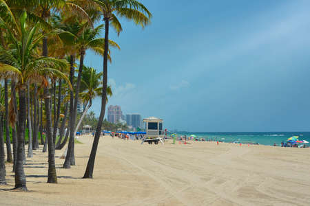 Fort Lauderdale beach near Las Olas Boulevard with the distinctive wall in the foreground  photo