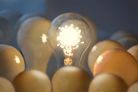 Teamwork and communication business concepts  Idea symbol, light bulb  photo