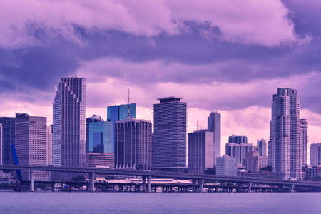 Downtown Miami under raining and storm at sunset  Banco de Imagens