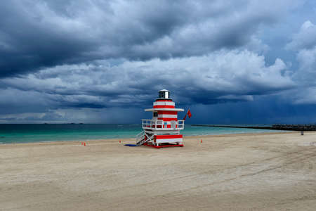 Stormy weather on the beach, rain over the sea at South Miami Beach, Florida, United States Standard-Bild