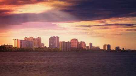Downtown West Palm Beach at Sunset, Florida, United States photo