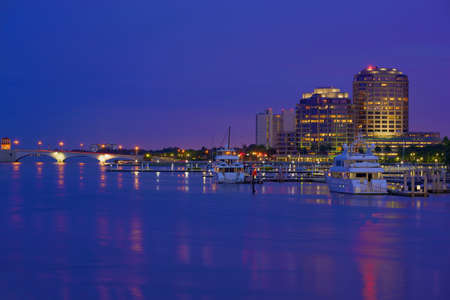 Downtown West Palm Beach at Night, Florida, United States