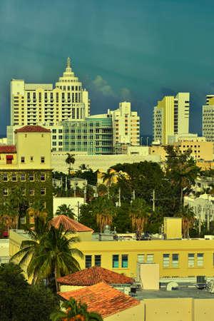 miami south beach: Aerial view of Miami South Beach, Florida, USA Stock Photo