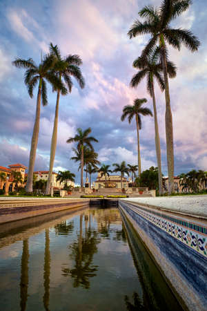 Downtown Palm Beach view with beautiful sky and palm trees