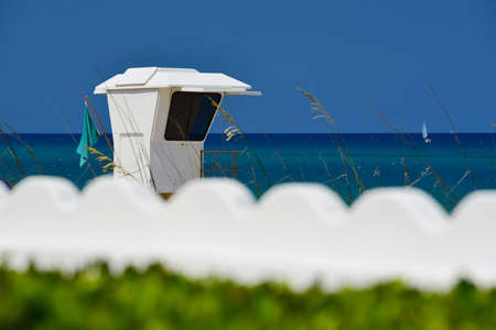 Beautiful tropical beach with lifeguard station