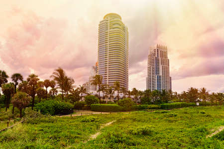 Beautiful Sunset with luxury ocean front condos at Miami South Beach, Florida, United States