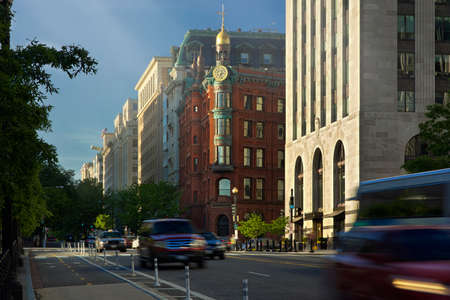 City Traffic on Wide Street in Washington DC