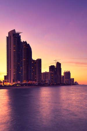 Beautiful beach sunset with condominiums and skyscraper in Sunny Isles Beach, Miami, Florida, United States Standard-Bild
