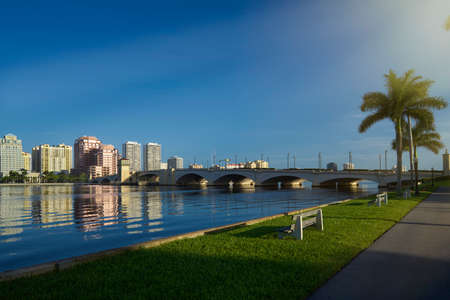 City skyline with blue clear sky  West Palm Beach, Florida, United States photo