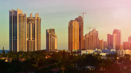 commercial real estate: Miami Beach Skyline at beautiful sunset  Florida, United States  Stock Photo