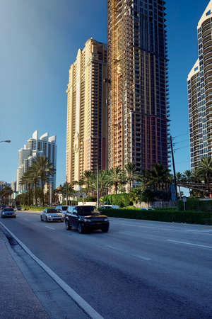 isles: Ocean front skyline with new luxury real estate building construction in Sunny Isles Beach, Miami, Florida, United States Stock Photo