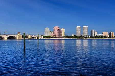 City skyline with blue clear sky  West Palm Beach, Florida, United States