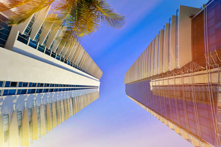 Luxury residential buildings against the blue sky and palm trees. Miami, Florida, United States