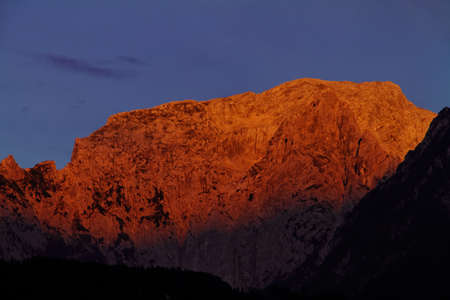 alpenglow:  alpenglow , national park berchtesgaden, germany