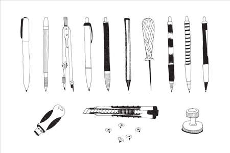 Hand drawn stationery and art supplies set. Vector doodle illustration. Set of school accessories and tools. Pencils, Pens, Cutter, Push pins, USB Flash Card, Awl, Mathematical Compass, Stamper.
