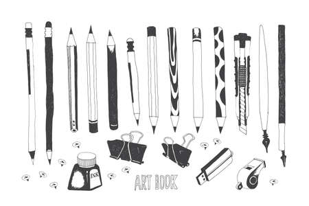 Hand drawn stationery and art supplies. Vector doodle illustration. Set of school accessories and tools. Pencil, Calligraphy Pen, Stylus, Push Pins, Ink Bottle, Binder Paper Clip, Whistle.