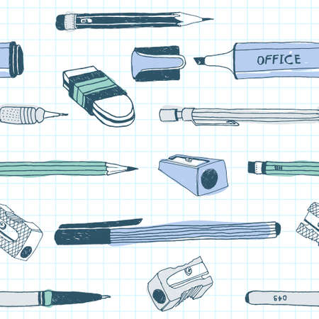 Hand drawn stationery seamless pattern. Vector doodle illustration. School accessories, supplies and tools.  イラスト・ベクター素材