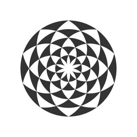 Disegno circolare di frattalo in bianco e nero. Fiore digitale. Illustrazione vettoriale Vettoriali
