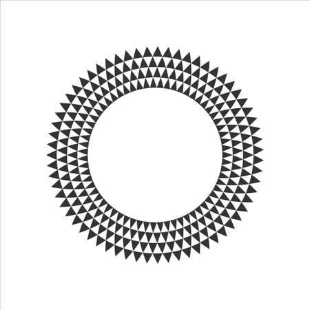 Black and White Circular Fractal Design.Digital flower.Vector illustration.
