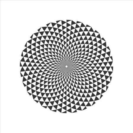 Czarno-biały okrągły fraktal geometryczny Design.Digital kwiat. Ilustracja wektorowa.
