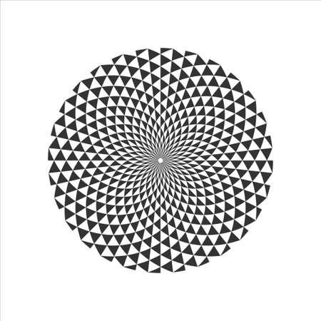 Black and White Circular Fractal Geometric Design.Digital flower. Vector illustration. Vettoriali