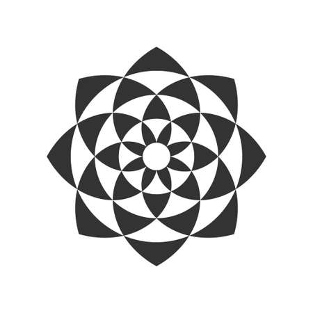 Black and white circular fractal design of a flower.