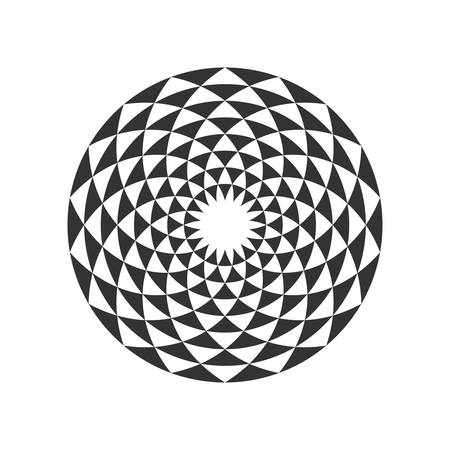 Black and White Circular Fractal Design. Digital flower. Vector illustration.