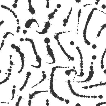 Abstract artistic paint splashes and blots seamless pattern. Black and white hand drawn splash textured background. Design for print, fabrics, textile, wrapping paper, wallpaper. Vector illustration.