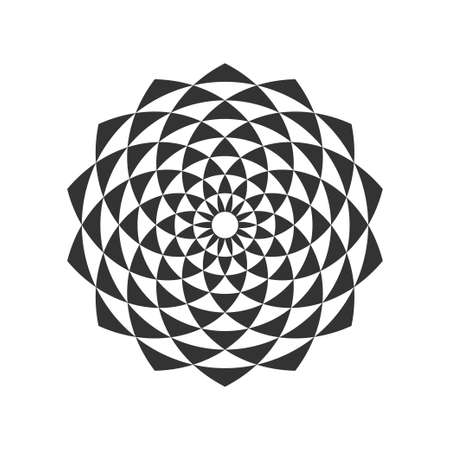 Black and white circular fractal design, digital flower vector illustration.