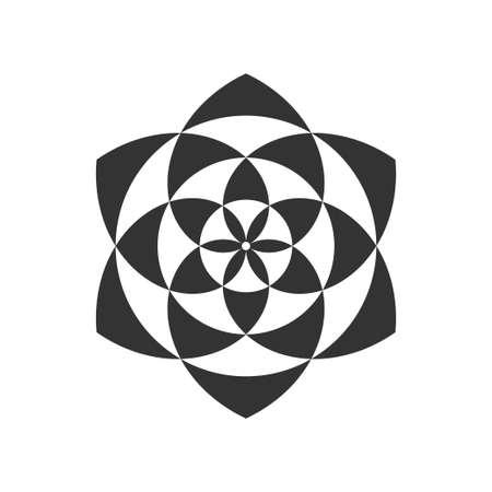 Black and white circular fractal design, digital flower vector illustration.