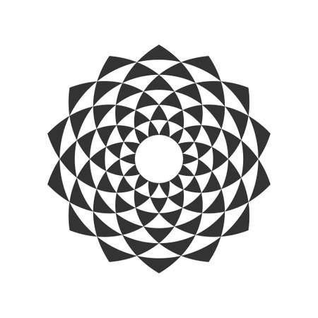 Black and White Circular Fractal Design. Digital flower. Vector illustration.