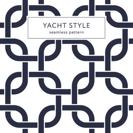 Rounded squares seamless pattern. Yacht style design. Fashionable elegant background. Template for prints, wrapping paper, fabrics, covers, flyers, banners, posters and placards. Vector illustration.
