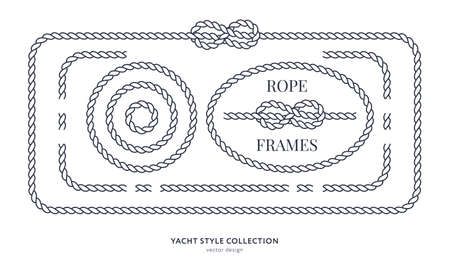 Nautical rope knots and frames set. Yacht style design. Vintage decorative elements.