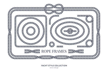 Nautical rope knots and frames set. Yacht style design. Vintage decorative elements. Template for prints, cards, fabrics, covers, flyers, menus, banners, posters and placard. Vector illustration. Çizim