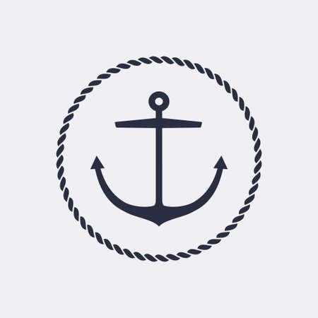 Anchor emblem with circular rope frame . Yacht style design. Nautical sign, symbol. Universal icon. Simple template. Vector illustration. Иллюстрация