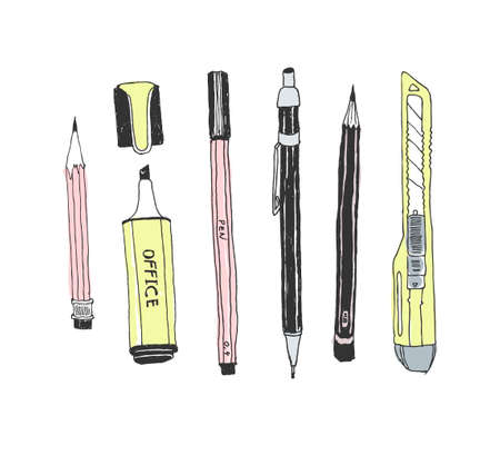 Hand drawn stationery set. Vector color illustration. Set of school accessories and supplies. Doodle tools composition. Pencil, Pen, Stylus, Marker, Highlighter, Cutter. Illustration