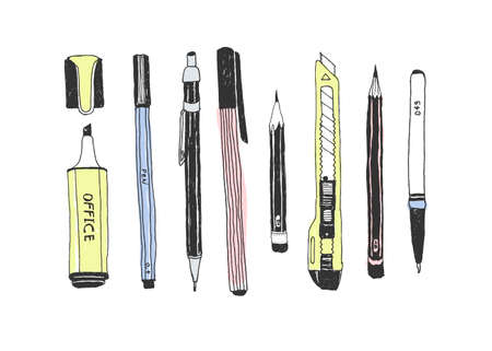 Hand drawn stationery set Vector color illustration. Illustration