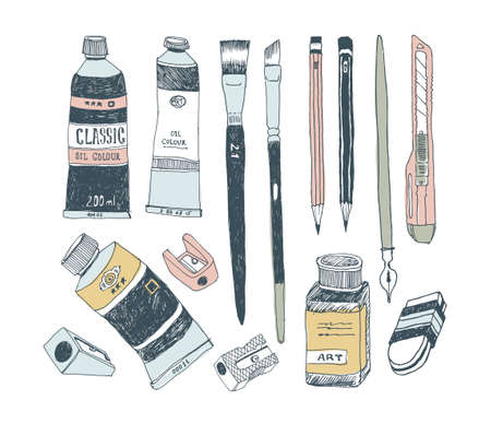 Hand drawn art tools and supplies set