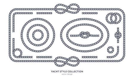 Ensemble de n?uds et de cadres de corde nautique. Conception de style de yacht. Éléments décoratifs vintage. Modèle pour impressions, cartes, tissus, couvertures, dépliants, menus, bannières, affiches et pancarte. Illustration vectorielle. Vecteurs