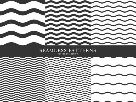 Set of waves geometric seamless pattern. Simple black and white background design. Template for prints, wrapping paper, fabrics, covers, flyers, banners, posters and placards, Vector illustration.