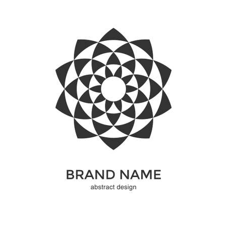 Abstract geometric flower logo. Black and White Circular Fractal Design. Digital flower icon. Lotus symbol. Simple logotype template. Vector illustration. Çizim