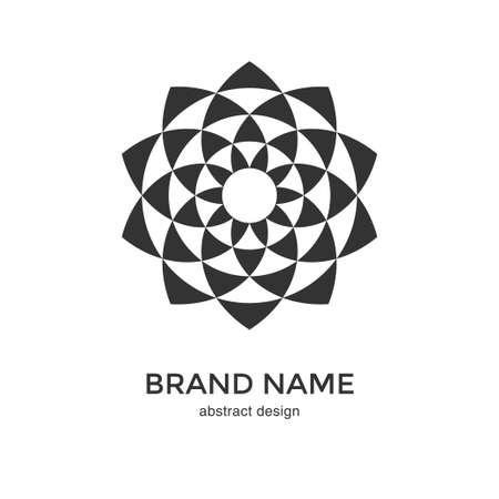 Logo fiore geometrico astratto. Design frattale circolare in bianco e nero. Icona del fiore digitale. Simbolo del loto. Modello logotipo semplice. Illustrazione vettoriale. Logo