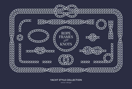 Nautical rope knots and frames set. Yacht style design. Vintage decorative elements. Template for prints, cards, fabrics, covers, menus, banners, posters and placard. Vector illustration.